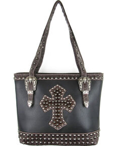 Savana Black Conceal Carry Hair-On Cross and Studs Handbag , Black, hi-res