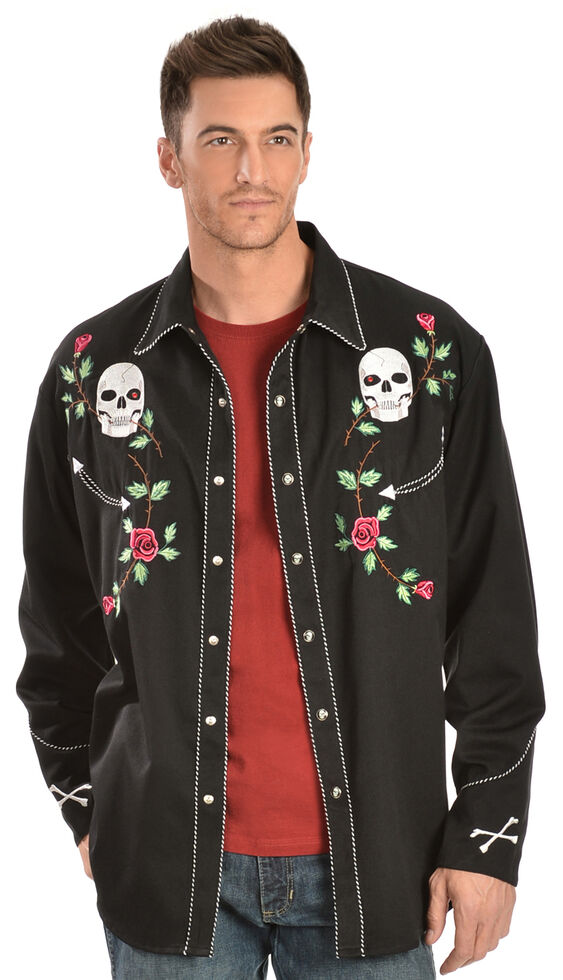 332311b9 Zoomed Image Scully Skull & Roses Embroidered Retro Western Shirt, Black,  hi-res