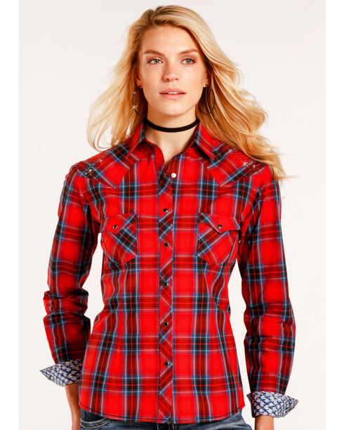 Rough Stock by Panhandle Women's Red Canarsie Plaid Shirt , Red, hi-res