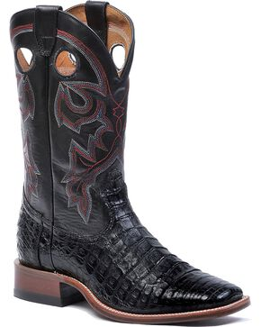 Boulet Black Caiman Belly Cowboy Boots - Square Toe, Black, hi-res