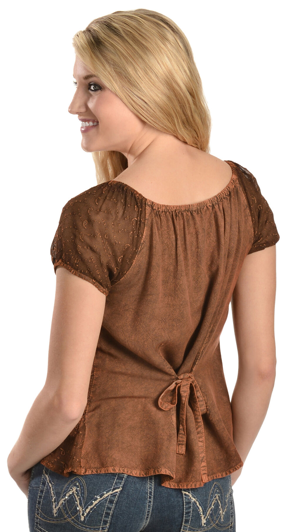 Scully Peasant Style Top, Copper, hi-res