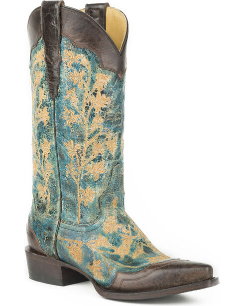 Stetson Women's Kate Embroidered Wingtip Western Boots - Snip Toe, Blue, hi-res