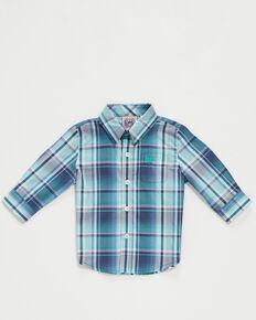 Cinch Infant Boys' Navy Plaid Long Sleeve Button-Down Western Shirt , Navy, hi-res