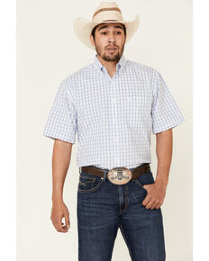 George Strait By Wrangler Men's White Small Plaid Short Sleeve Button-Down Western Shirt - Tall, White, hi-res