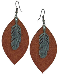 Montana Silversmiths Women's Natured Feather Soft Leather Earrings, No Color, hi-res