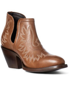 Ariat Women's Whiskey Dixon Fashion Booties - Round Toe, Brown, hi-res