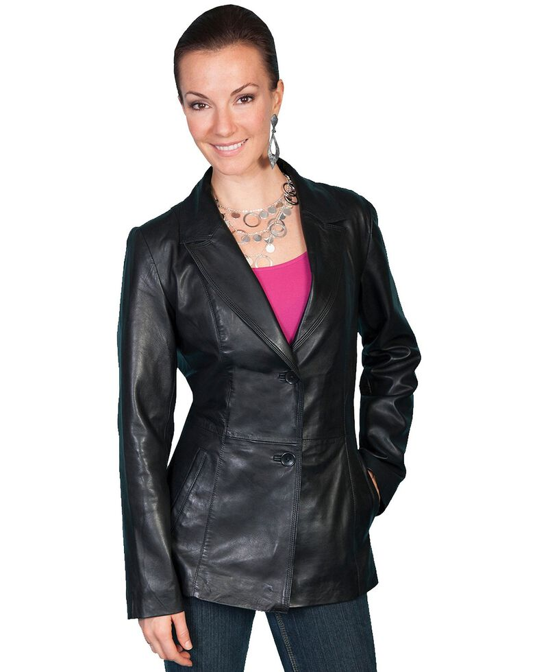 Scully Lamb Leather Blazer, Black, hi-res