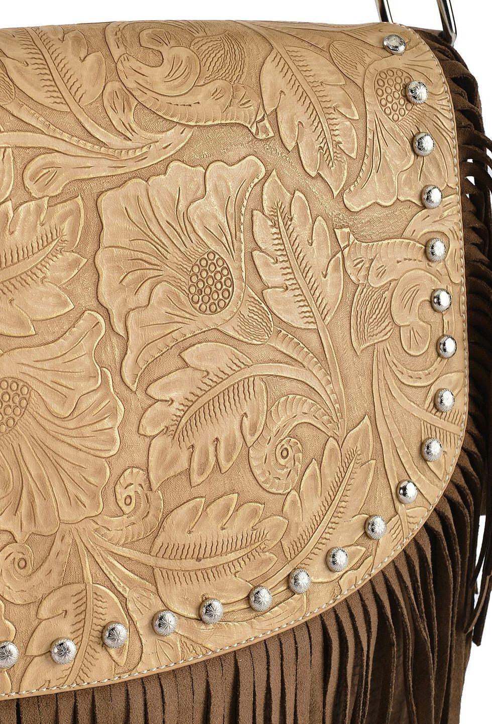 Blazin Roxx Fringe Embossed Messenger Bag, Brown, hi-res