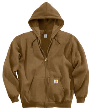 Carhartt Hooded Zip Sweatshirt - Big & Tall, Brown, hi-res