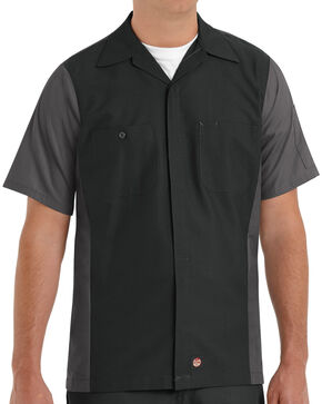 Red Kap Men's Crew Short Sleeve Shirt , Black, hi-res