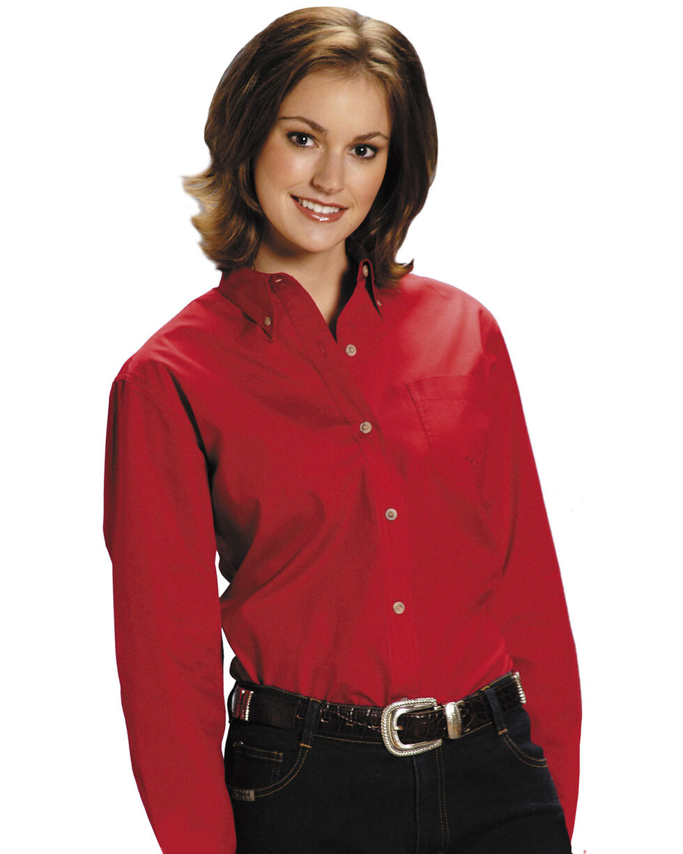 Roper Women's Amarillo Solid Button-Down Poplin Shirt - Plus, Red, hi-res