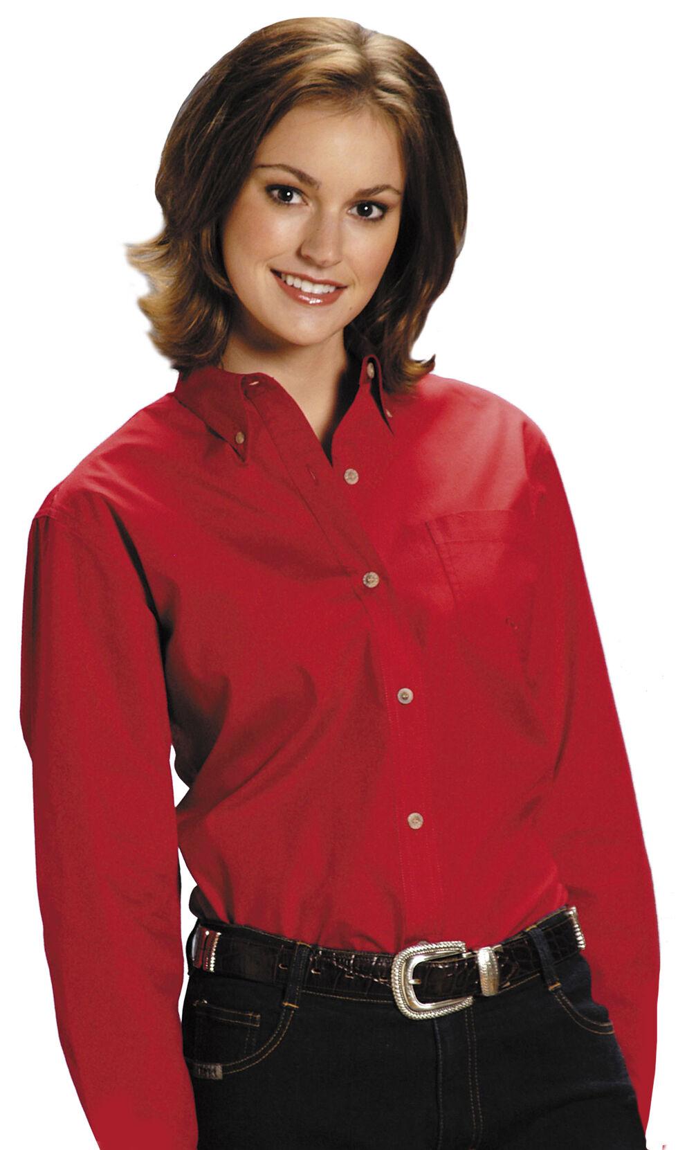 Roper Women's Amarillo Solid Button-Down Poplin Shirt, Red, hi-res