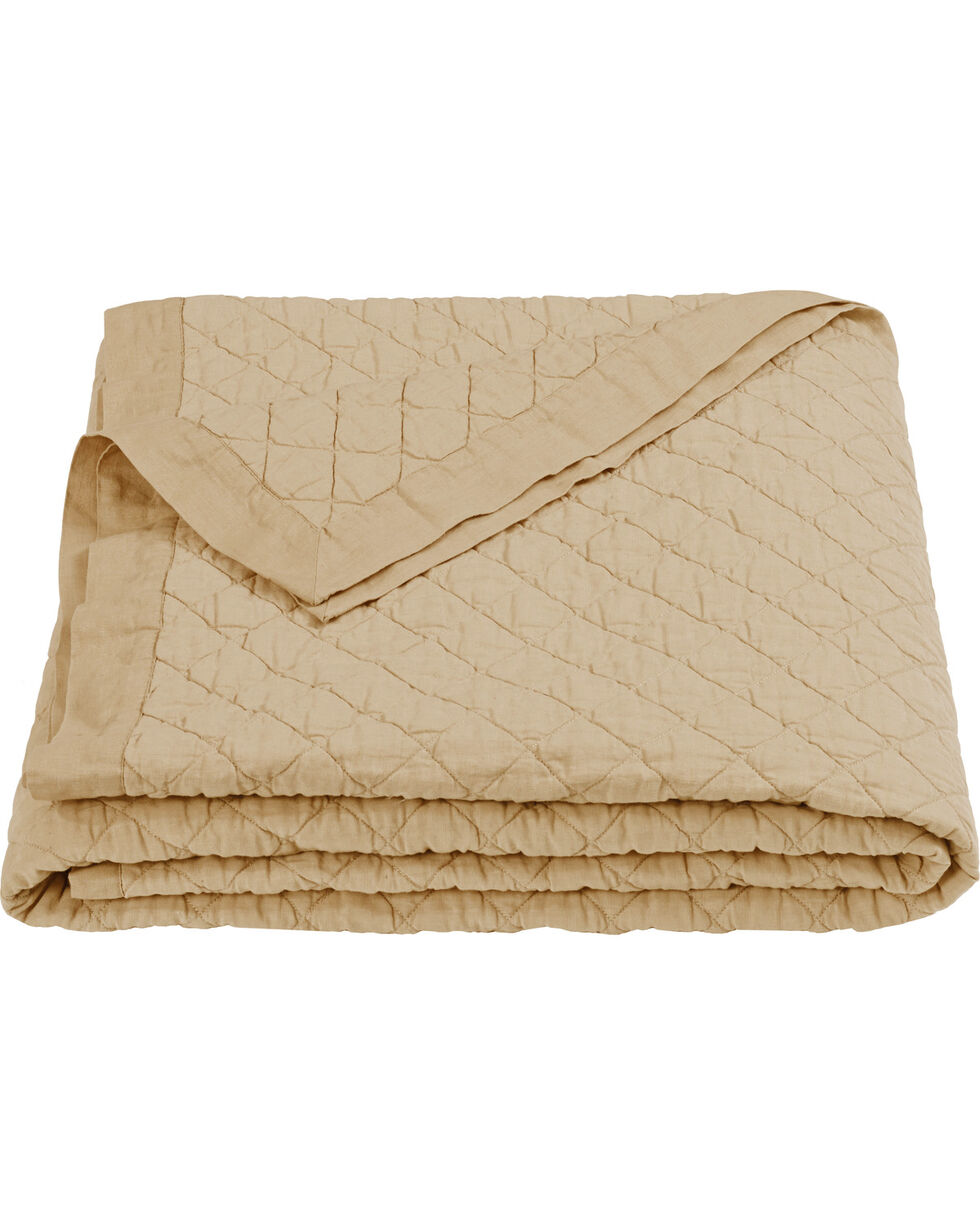 HiEnd Accents Diamond Pattern Khaki Linen Full/Queen Quilt, Khaki, hi-res