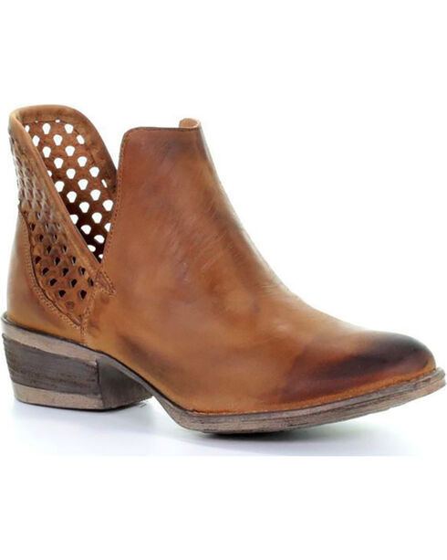 Circle G Women's Brown Cut-Out Shortie Boots - Round Toe, Brown, hi-res