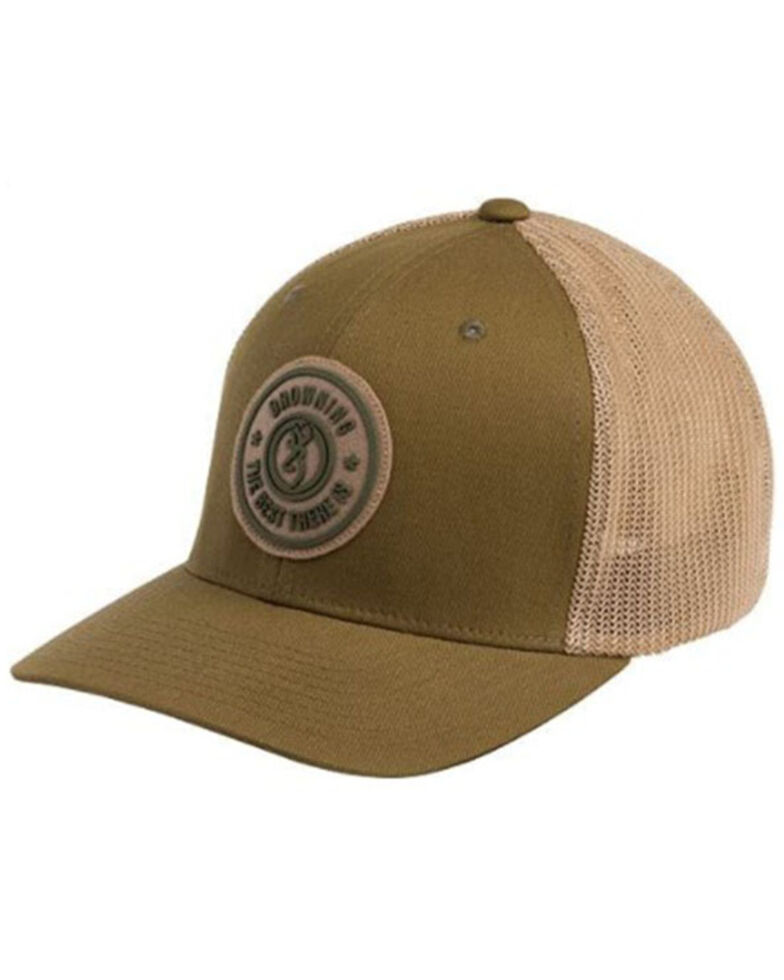 Browning Men's (L-XL) Dusted Loden Embroidered Circle Logo Patch Mesh-Back Ball Cap , Brown, hi-res