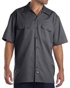 Dickies Men's Charcoal Flex Twill Work Shirt , Charcoal, hi-res