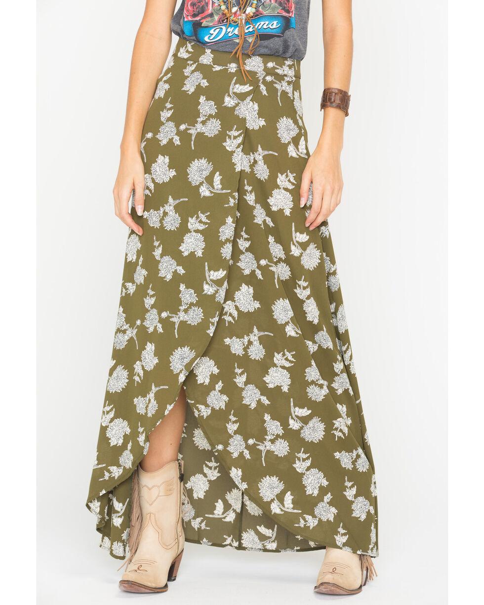 Sadie & Sage Women's Olive Floral Maxi Skirt , Olive, hi-res