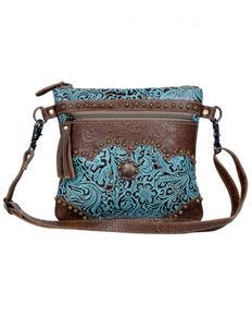 Myra Bag Women's Azure Tooled Bag, Brown, hi-res