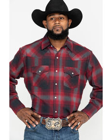 Ely Walker Men's Brawny Flannel Long Sleeve Western Shirt - Big , Burgundy, hi-res