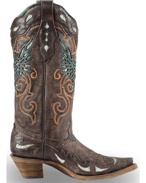 Corral Women's Glittery Inlay and Embroidery Western Boots - Snip Toe, Brown, hi-res