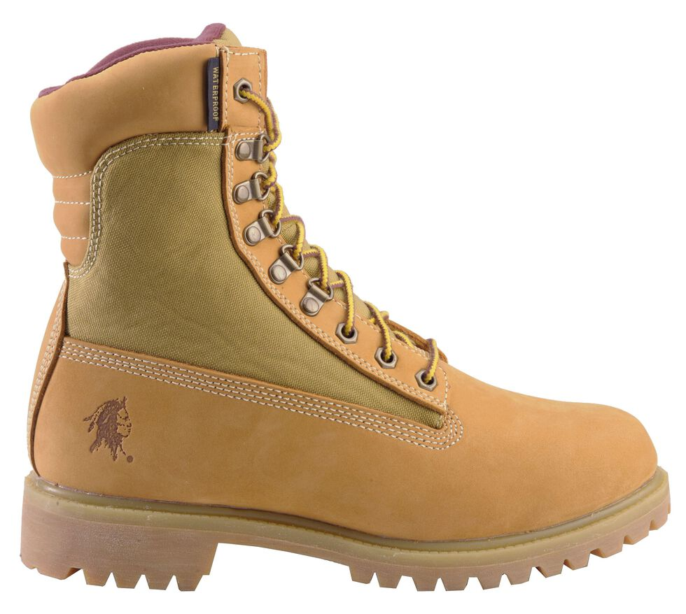 "Chippewa Nubuc Waterproof & Insulated 8"" Lace-Up Work Boots - Round Toe, Golden Tan, hi-res"