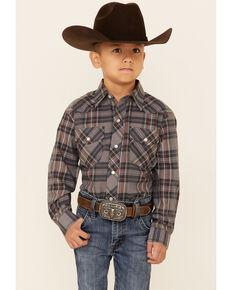 Roper Boys' Multi Plaid Long Sleeve Snap Western Shirt , Grey, hi-res