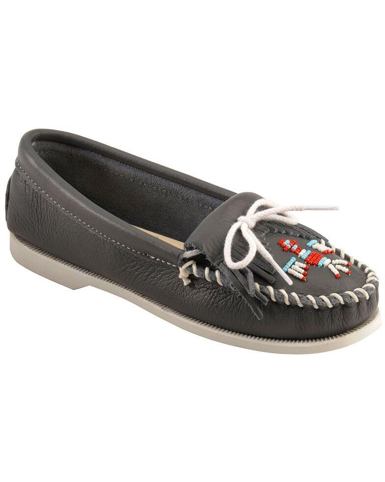 Minnetonka Smooth Leather Thunderbird Moccasins - Boat Sole, Navy, hi-res