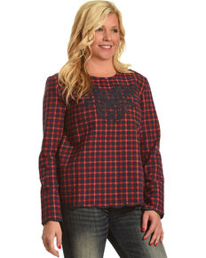 MI. OH. MI. Women's Plaid Embroidered Long Sleeve Top, Navy, hi-res
