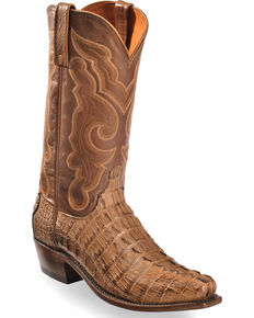 Lucchese Men's Handmade Tan Franklin Hornback Caiman Tail Boots - Snip Toe , Tan, hi-res