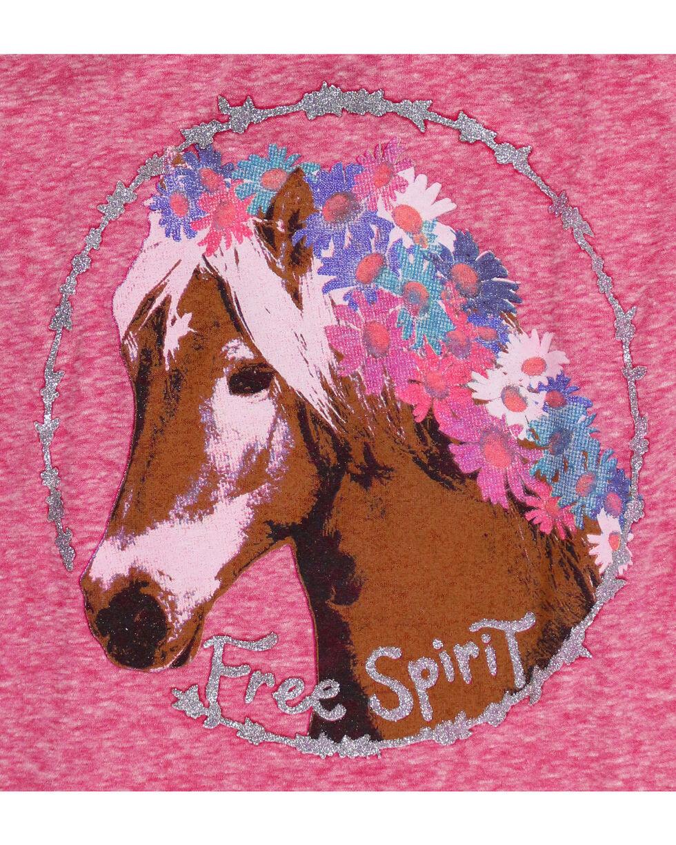 Shyanne Girls' Flower Crown Pony Raglan Tee, Coral, hi-res