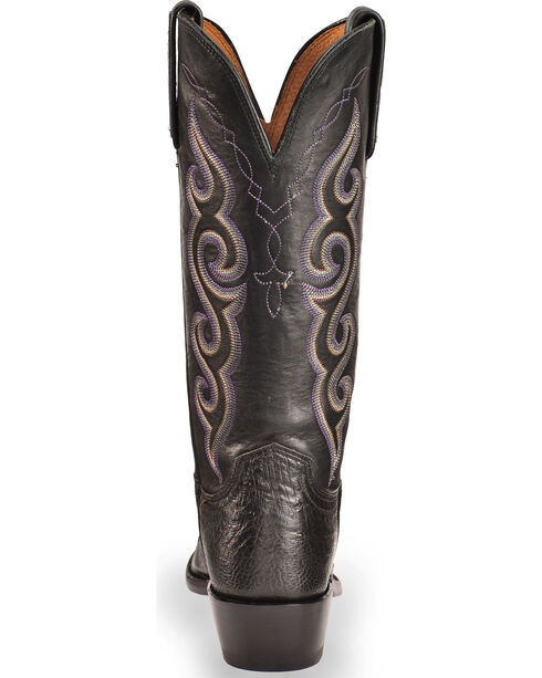 Lucchese Women's Handmade Black Yvette Ostrich Leg Western Boots - Square Toe , Black, hi-res