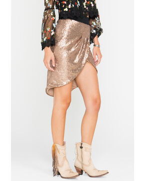 HYFVE Women's Bronze Sequin Tulip Skirt , Bronze, hi-res
