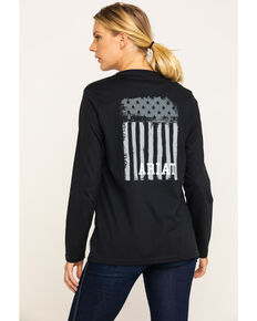 Ariat Women's FR Black Americana Graphic Long Sleeve Work Tee , Black, hi-res