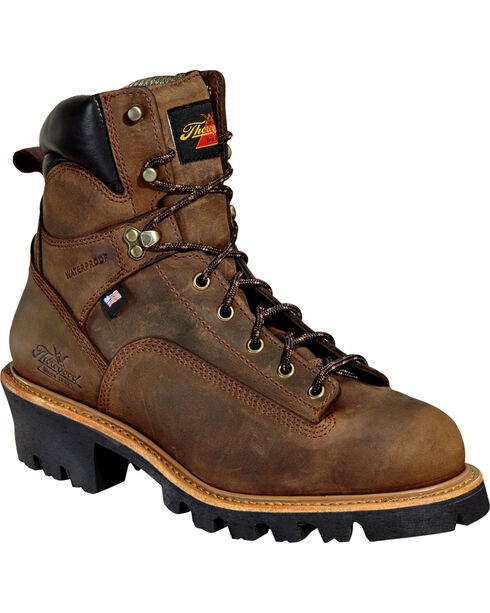 "Thorogood Men's 6"" Lace To Toe Logger Waterproof Work Boots, Brown, hi-res"