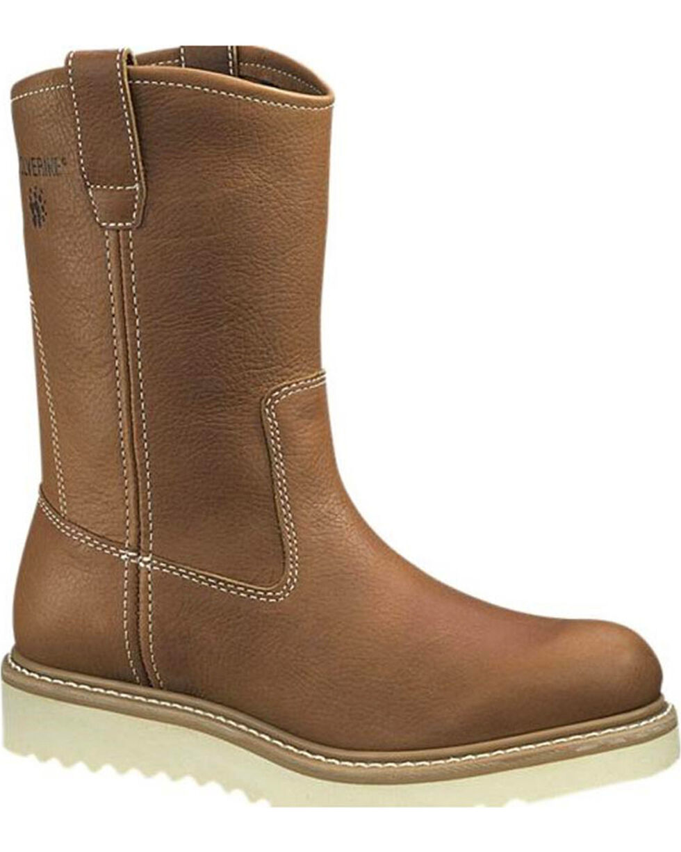 "Wolverine Men's 10"" Wellington Wedge Work Boots - Round Toe, Brown, hi-res"