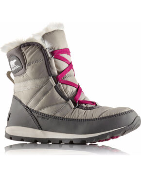 Sorel Women's Grey Whitney Short Lace Boots - Round Toe , Grey, hi-res