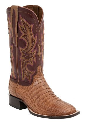 Lucchese 1883 Handmade Shiloh Caiman Belly Cowboy Boots - Square Toe, Tan, hi-res