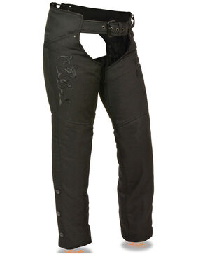 Milwaukee Leather Women's Reflective Tribal Embroidered Textile Chaps, Black, hi-res