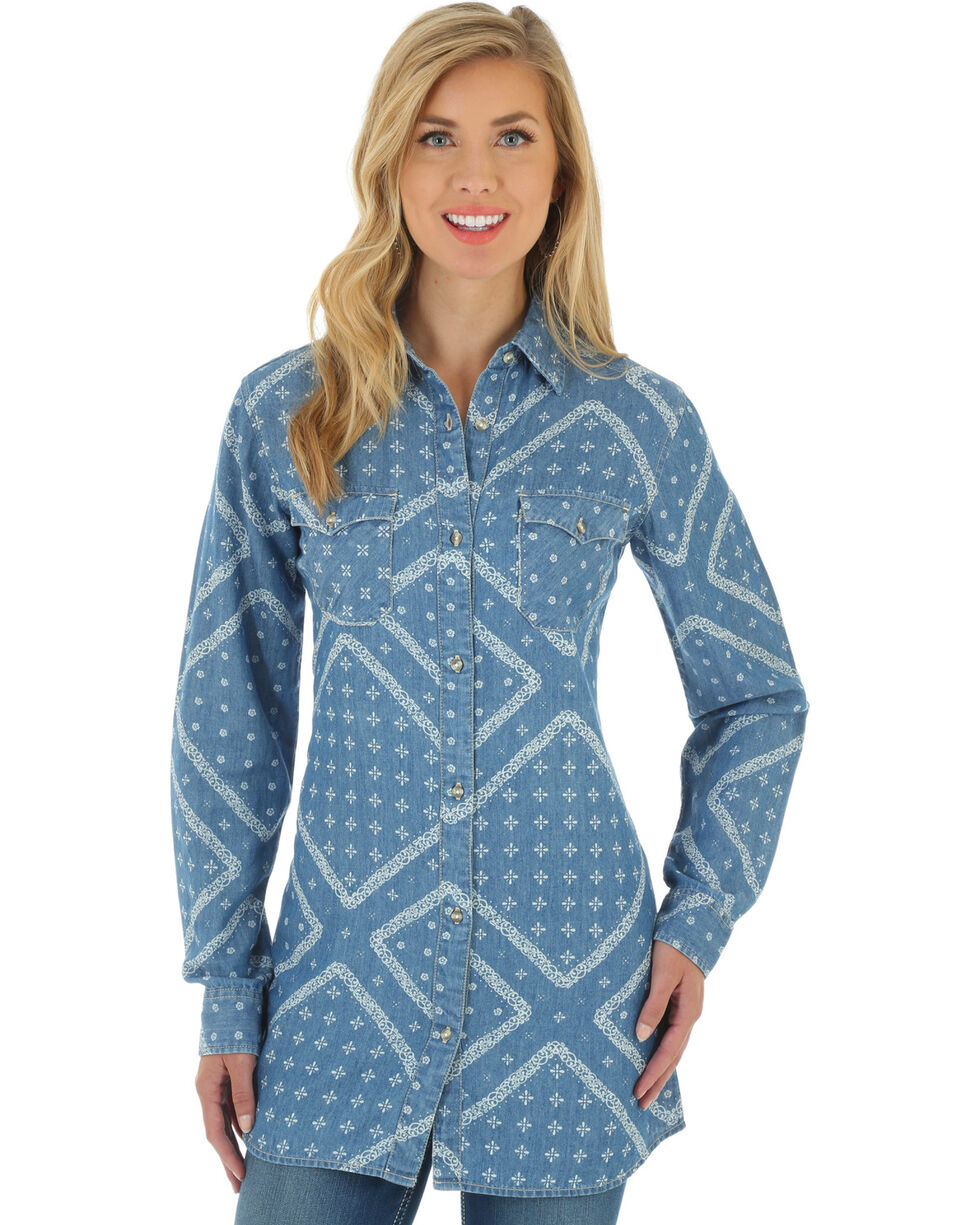 Wrangler Women's Printed Denim Tunic, Indigo, hi-res