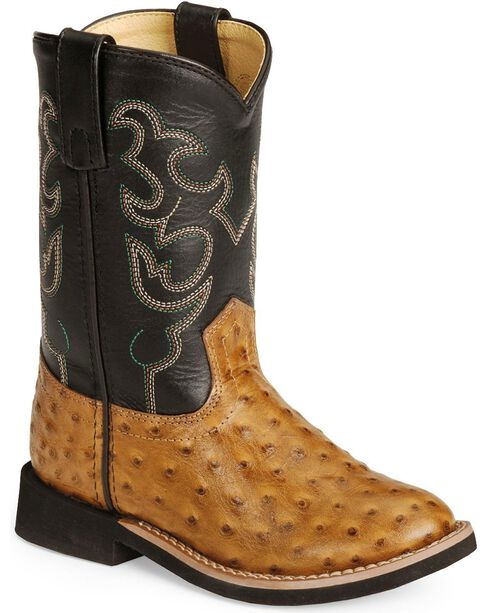 Smoky Mountain Youth Shawnee Ostrich Print Cowboy Boots, Cognac, hi-res