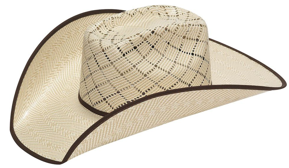 Twister 10X Criss Cross Vent Bound Edge Straw Cowboy Hat, Natural, hi-res