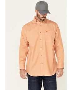 Ariat Men's FR Sutherland Print Durastretch Long Sleeve Button-Down Work Shirt , Orange, hi-res