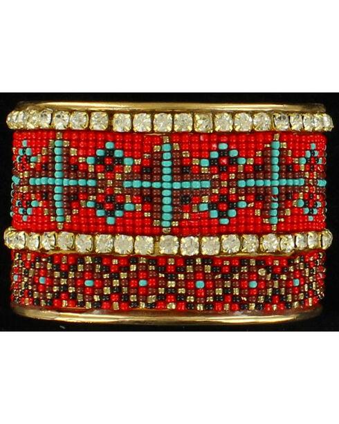 Blazin Roxx Rhinestone Beaded Tribal Cuff Bracelet, , hi-res