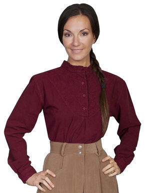 Rangewear by Scully Cotton Embroidered Long Sleeve Top, Burgundy, hi-res