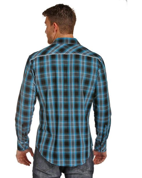 Rock & Roll Cowboy Men's Twill Plaid Shirt , Turquoise, hi-res