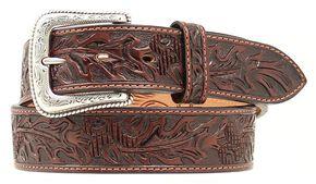 Nocona Tooled Leather Belt, Brown, hi-res