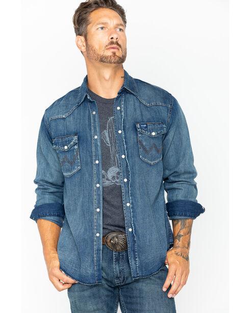 Wrangler Slub Denim Work Shirt, Antique Blue, hi-res