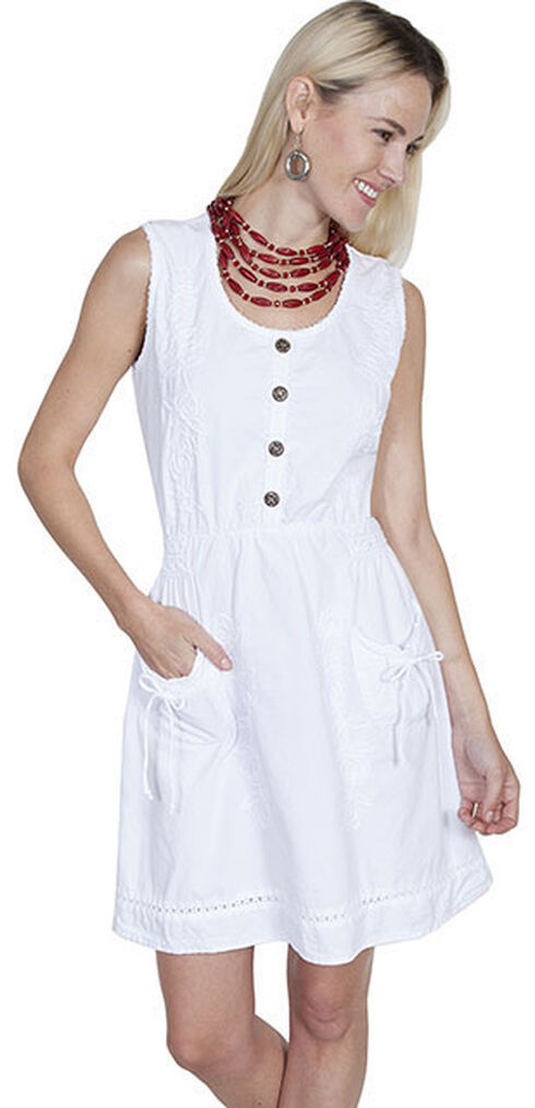 Scully Cantina Collection Sleeveless Cotton Button Front Dress, White, hi-res