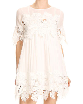 Blush Noir Women's White Lace Dress , White, hi-res