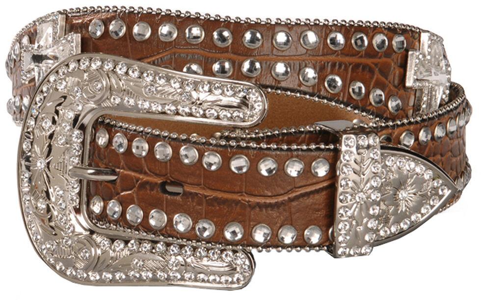 Blazin Roxx Scalloped Rhinestone Cross Croc Print Belt, Brown, hi-res